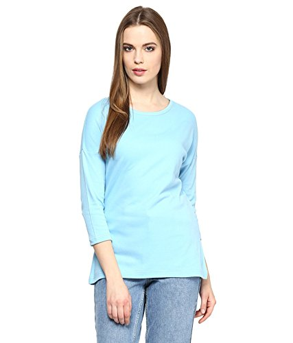 Hypernation-Light-Blue-Round-Neck-Cotton-T-shirt