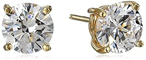 Platinum or Gold-Plated Sterling Silver Round-Cut Swarovski Zirconia Stud Earrings from Amazon Collection