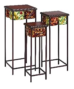 Set of Three Gorgeous Wood Metal Plant Stands