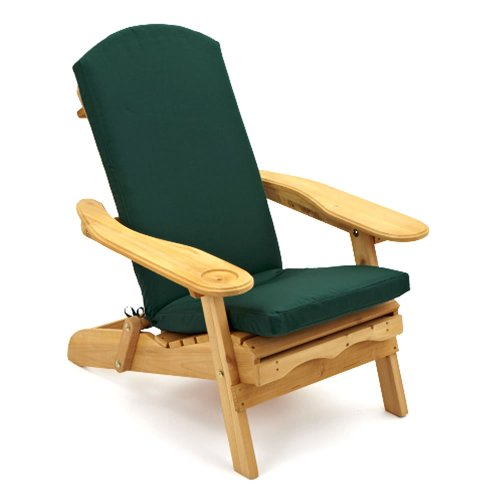 Trueshopping Garden Furniture / Patio Newby Wooden Adirondack Arm Chair / Lounger with pull out Leg Rest Durable & Easy To Store Away with Luxury Dark Green One Piece Seat, Back and Head Cushion