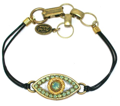 Michal Golan 24k Gold Plated and Silver Evil Eye Bracelet with Pacific Opal Swarovski Crystals on Black Leather Cord
