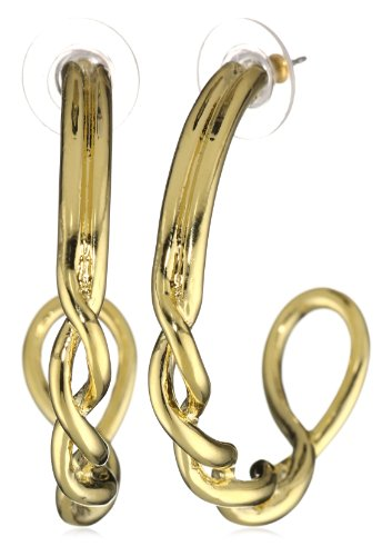 T Tahari Gold Tone Twist Hoop Earrings