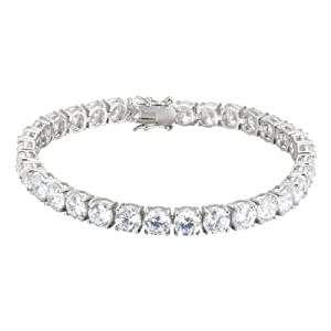 Platinum Plated Sterling Silver Round Simulated Diamond Tennis Bracelet, 8