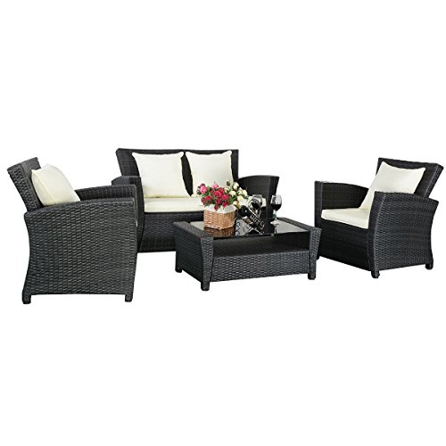 11tlg gartenm bel schwarz rattan lounge set loungegruppe sitzgruppe rattanm bel wasserfest. Black Bedroom Furniture Sets. Home Design Ideas