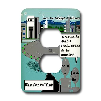 Lsp_1613_6 Londons Times Space The Final Frontier Cartoons - One Giant Step For Alien-Kind - Light Switch Covers - 2 Plug Outlet Cover