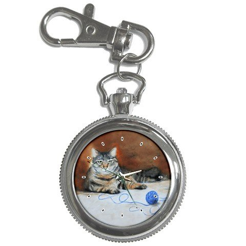 Limited Edition Violano Keychain Pocket Watch Tabby Cat Kitten