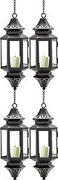 Set Of 4 Hanging Moroccan Lanterns Pierced Metal Pendant Lamp Candle Holders