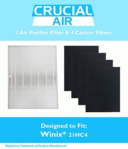 1 Winix-Compatible 115115 Replacement Filter & 4 Carbon Filters, Size 21 Filters Fits Plasma Wave WAC5300, WAC5500, WAC6300, 5000, 5000b, 5300, 5500, 6300 & 9000, Designed & Engineered by Crucial Air