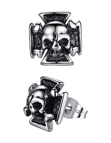 Men's Stainless Steel Gothic Biker Skull Cross Stud Earrings,
