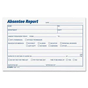 TOPS Absentee Report Forms, 4 x 6 Inch, 100 Sheets, 2-Pack, White (12391)