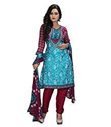 Fashionx Green crepe printed unstitched dress material