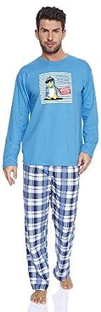 Cornette Hommes Ensemble de Pyjama CR-124-Penguin (Bleu, XL)