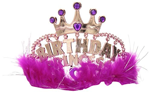 One Rhode Island Novelty Birthday Marabou Princess Pink Tiara - 1