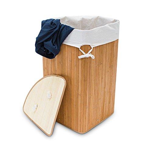 Relaxdays-Panier--linge-pliant-pliable-Triangulaire-triangle-en-bambou-avec-sac-intrieur-65-x-495-x-37cm-64L-Couleur-naturelle
