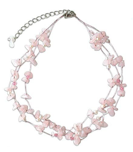 Pearl and rose quartz necklace, 'Natural Spectacular' 0.8