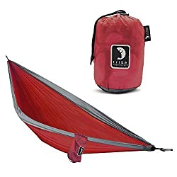 Single Person Adventure Hammock made of Rip-stop Nylon by Tribe Provisions - Includes carabiners and lashing cables Red