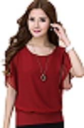 Top{(Choice Fashion_Red_Mini_Georgette Women's Top)}