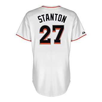MLB Miami Marlins Giancarlo Stanton White Home Replica Baseball Jersey, White by Majestic
