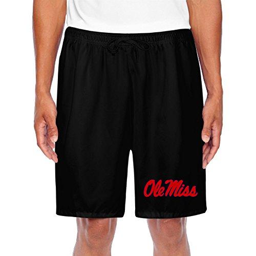 BOOMY Men's Ncaa Mississippi Ole Miss Rebels Football Shorts Sweatpants Black Size M