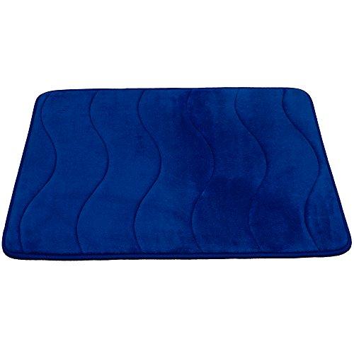 FlamingoP Waved Pattern Fieldcrest Luxury Bath Rugs, 17 Inch by 24 Inch, Royal Blue