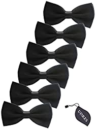 Udres 6 Pack Solid Bow Tie Satin Pre-tied Bowtie for Wedding Party (One Size, Black)