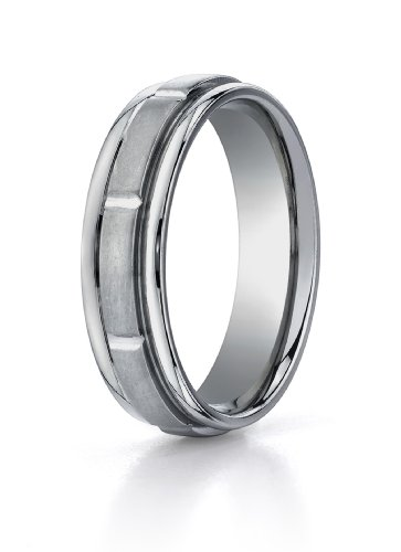 Men's Titanium 6mm Round Edge Comfort Fit Featuring Faceted Cuts in a Satin Finish, Size 10.5