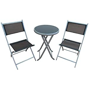 3 piece folding bistro set with 50cm small round table