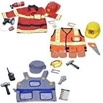 Big Sale Best Cheap Deals Role Play Costume Bundle: Fire Chief, Construction Worker, and Train Engineer
