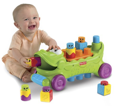 Fisher-Price Stack 'n Surprise Blocks Musical Croc Block Wagon - 1