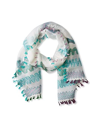 Saachi Women's Waves Fringe Scarf, Ivory Pool