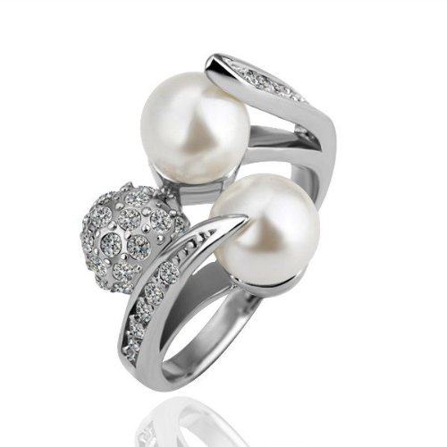 White Gold Plated And White Genuine Swarovski Crystal And Simulated Pearl Dress Ring