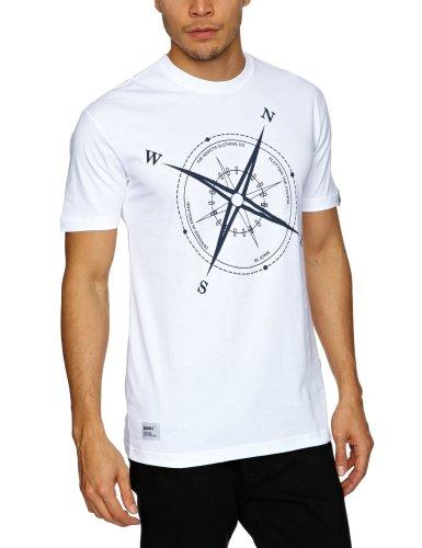 Addict Compass Printed Men's T-Shirt White Medium
