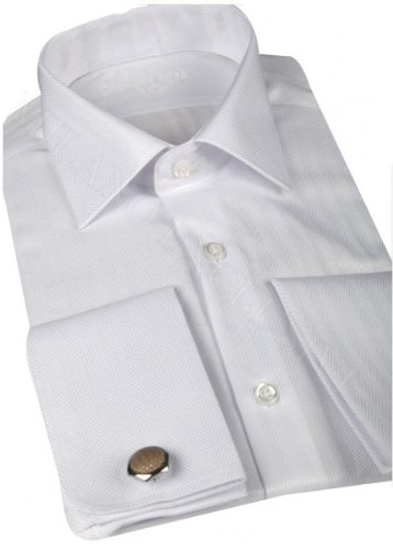 Jermyn street shirts Mens White Slim Fit formal Cufflink Shirt With Tie - Small