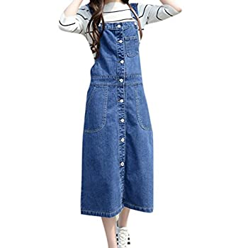 Skirt BL Women's Vintage Plus Size Blue Romper Denim Overall Jean Skirt Dress
