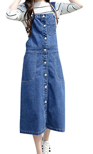 Skirt BL Women's Vintage Plus Size Blue Romper Denim Overall Jean Skirt Dress 0