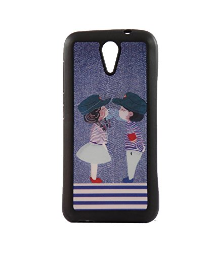 Exclusive 3D Design Effect Rubberised Back Case Cover For HTC DESIRE 620 Dual SIM/620G - Small Couple