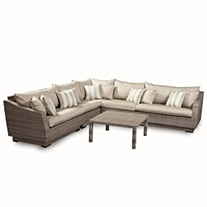 Amazoncom rst brands 6 piece cannes modular sectional for Gray sectional sofa amazon