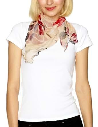 Bellewear Lotus Leaf Edge Silk Women's Scarf Beige/Red One Size
