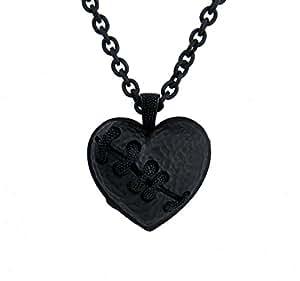 Black Stitch Heart Necklace Broken Eternal Love Gift Pendant