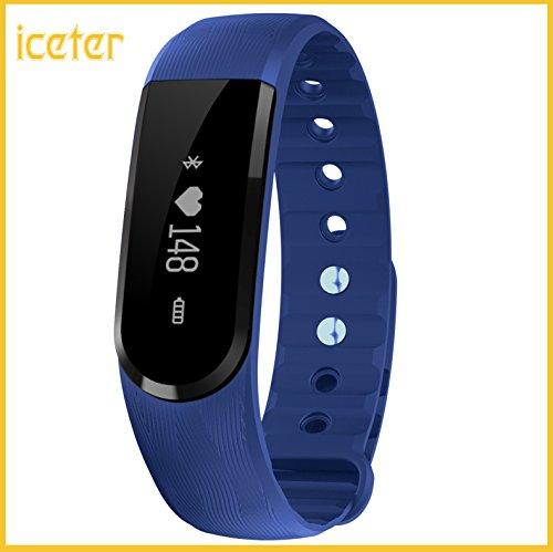 Braccialetto Fitness,ICETER Bluetooth braccialetto Smart smart band frequenza cardiaca Monitor Wristband Fitness Tracker remota fotocamera musica di controllo (blu)