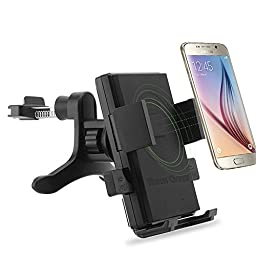 Qi Car Charger Mount, Antye Qi Wireless Car Charger Dock Air Vent Wide Charging Area Holder for Samsung Galaxy S7,S7 Edge,S6,S6 Edge,Note 5,Nexus 5/6, and Other Qi Standard Smartphones