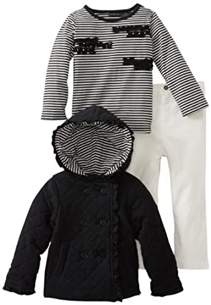 Calvin Klein Little Girls' Quilted Jacket With Tee And Pant, Black, 4T