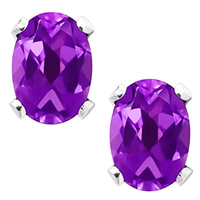 1.50 Ct 7X5mm Natural Purple Amethyst Sterling Silver Earrings: Jewelry