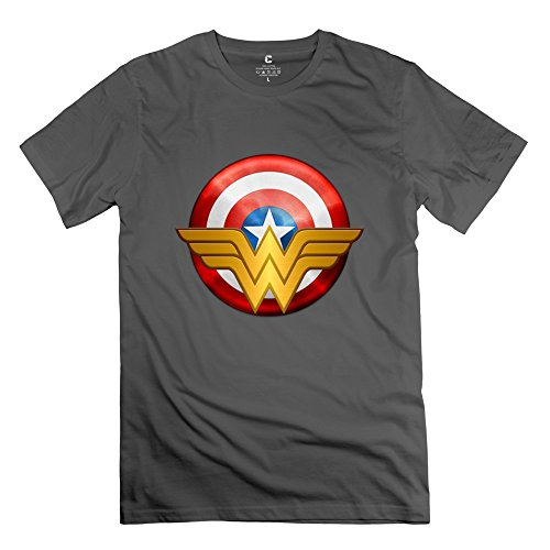 Men Captain America Wonder Woman Logo Custom O Neck DeepHeather Tee Shirts By Mjensen