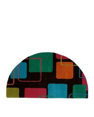 Trade-Am Vibrance Lines & Shapes Half-Moon Rug, Charcoal, 22 x 40