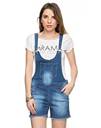 TARAMA Solid Dark Blue color Dress dungaree for womens.