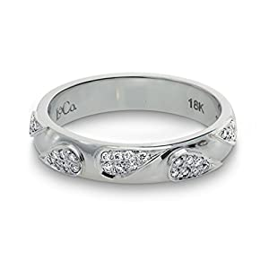 0.12Cts Colorless Diamond Ring Set in 18K White Gold