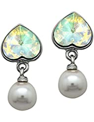 Mahi With Swarovski Elements Valentine Heart Pearl Rhodium Plated Earrings For Women ER1104094R
