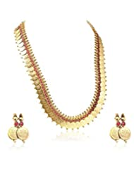 Multiline Company  Coin LONG Necklace Traditional Temple Polki Set With Red Stone For Women