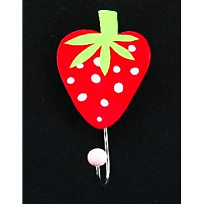 Gisela Graham Strawberry Shaped Wooden Hook Red6